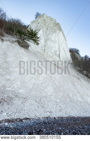 White Chalk Cliffs On Shore Of The Baltic Sea. Soft Chalky Does Not Resist To Weather Erosion. The I