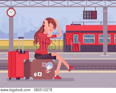 Girl Missing The Train Journey, Left In Despair At Trainstation. Angry Sad Woman Sitting At Luggage,
