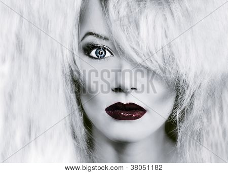 Glamour Woman Face With Red Lips