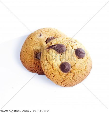 Chocolate Chip Cookie On The White Background
