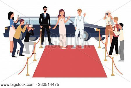 Cartoon Celebrity People Arriving To Red Carpet On Limousine
