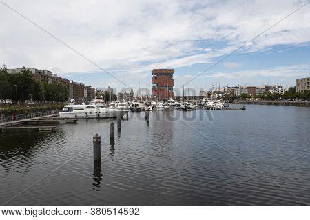 Antwerp, Belgium, July 19, 2020, The Museum Aan De Stroom Called The Mas Seen From The Willemdok