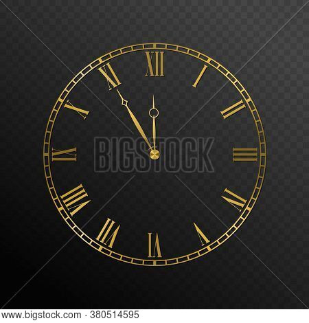 Mechanical Golden Wall Clock. Luxury Elegant Round Clock Dial Plate With Roman Numerals, Five To Twe