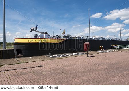 Terneuzen, The Netherlands, July 12, 2020, The Inland Vessel The Somtrans Xiii Is Moored