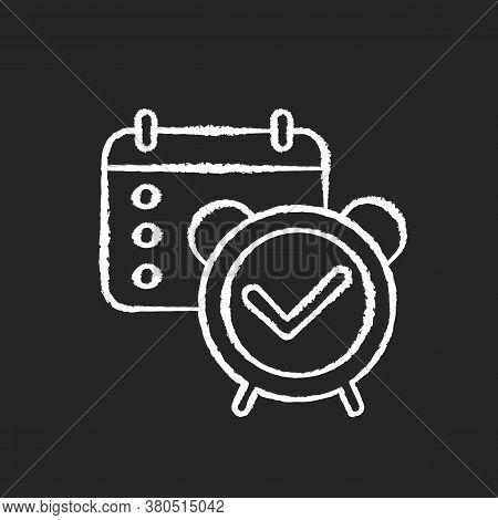 Reminder Check Chalk White Icon On Black Background. Organizer Checkmark. Meeting Date In Calendar.