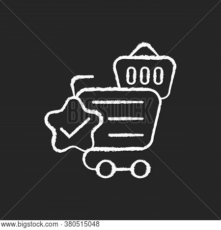 Quality Online Shopping Chalk White Icon On Black Background. Internet Store Best Service. Cart And
