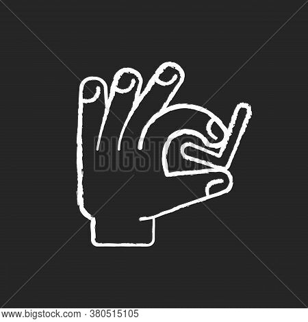 Hand With Checkmark Chalk White Icon On Black Background. Select Option. Quality Rating. Customer Ap