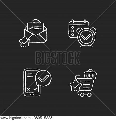 Service Quality Marks Chalk White Icons Set On Black Background. Reminder And Organizer Notification