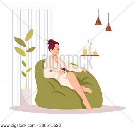 Self Care For Woman Semi Flat Rgb Color Vector Illustration. Spa Treatment For Body Care. Girl Sit I