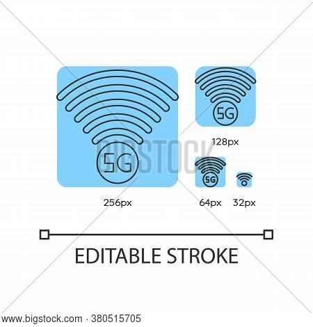 5g Signal Indicator Blue Linear Icons Set. Internet Connection Quality. Wireless Technology. Thin Li