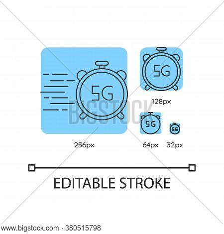 5g Stopwatch Blue Linear Icons Set. High Performance. Low Latency Connection. Wireless Technology. T
