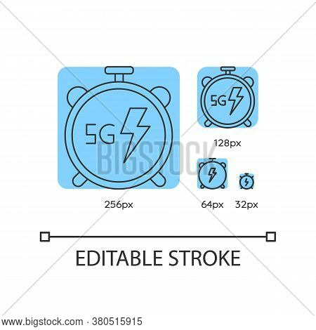 5g Watch Blue Linear Icons Set. High Performance. Innovative Wireless Technology. Thin Line Customiz
