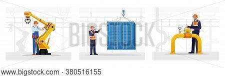 Engineer Semi Flat Vector Illustrations Set. Mechanic Working With Manufactory Equipment. Workman At