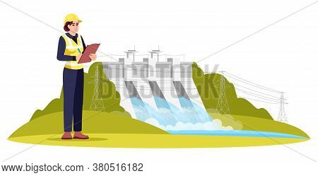 Ecological Engineering Semi Flat Rgb Color Vector Illustration. Water Quality Monitoring And Testing
