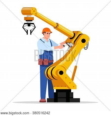 Robotics Expert Semi Flat Rgb Color Vector Illustration. Industrial Maintenance. Factory Automated M