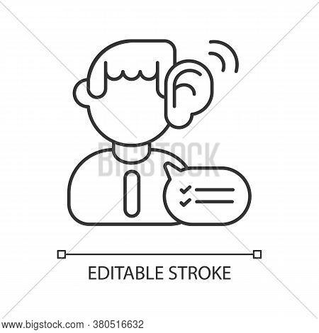 Listening Skills Linear Icon. Communication Abilities, Consultation Service. Professional Skills Thi