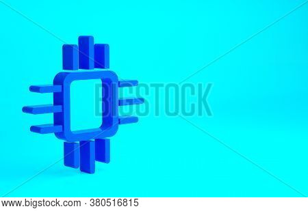 Blue Computer Processor With Microcircuits Cpu Icon Isolated On Blue Background. Chip Or Cpu With Ci