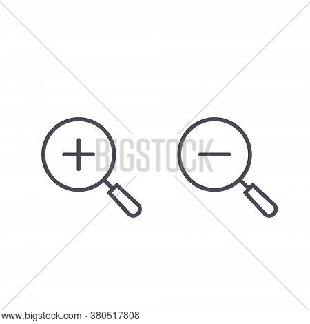 Magnifier Plus Minus Zoom Vector Icon, Increase-decrease Magnifiers Symbols.