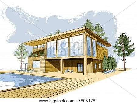Vector Colored Background With Modern House With Swimmingpool