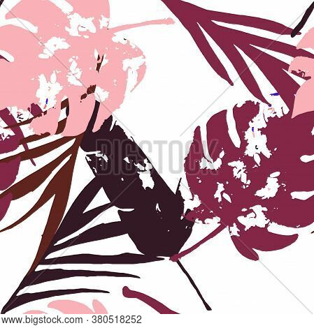 Palm, Banana Leaves Vector Seamless Pattern, Blue Pink Purple Indigo Floral Textile. Bohemian Jungle