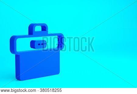 Blue Briefcase Icon Isolated On Blue Background. Business Case Sign. Business Portfolio. Minimalism