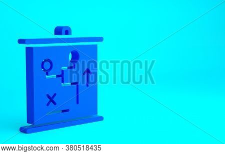 Blue Planning Strategy Concept Icon Isolated On Blue Background. Cup Formation And Tactic. Minimalis