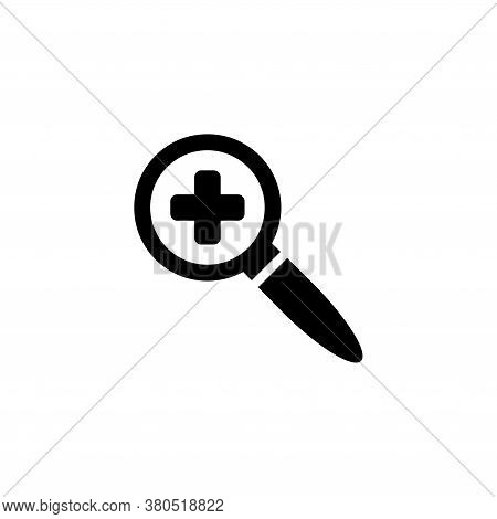 Magnifier With Plus, Zoom Loupe Lens. Flat Vector Icon Illustration. Simple Black Symbol On White Ba