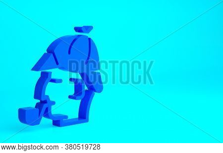 Blue Sherlock Holmes With Smoking Pipe Icon Isolated On Blue Background. Detective. Minimalism Conce