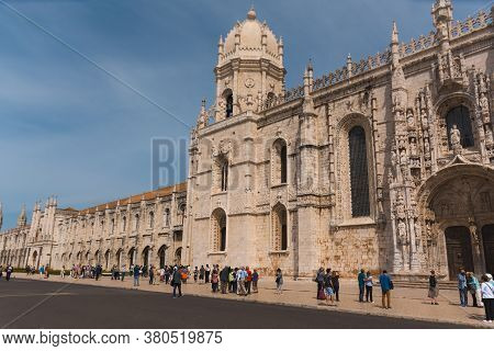 Lisbon, Portugal - 15th May, 2017: A Side View Of The Jeronimos Monastery (mosteiro Dos Jeronimos),