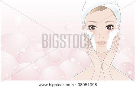 Beautiful Young Woman Washing Her Face