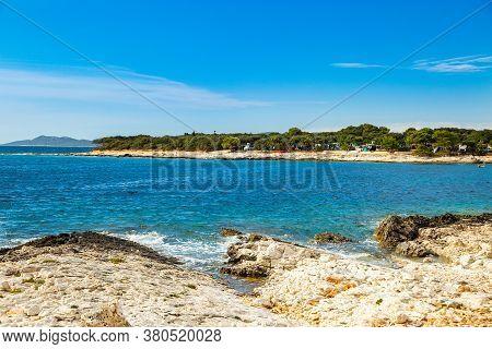Beautiful Blue Bay On Adriatic Sea In Croatia, Dugi Otok Island, Camping Resort In Veli Rat Pine For