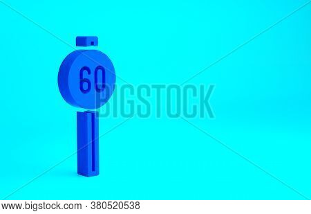 Blue Speed Limit Traffic Sign 60 Km Icon Isolated On Blue Background. Minimalism Concept. 3d Illustr