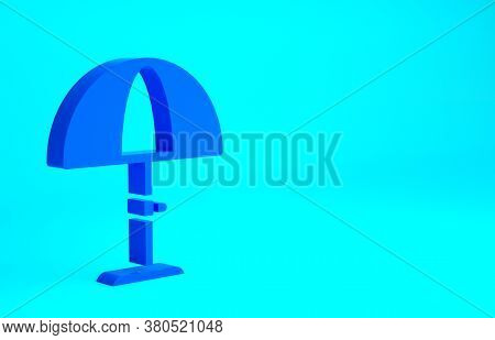 Blue Sun Protective Umbrella For Beach Icon Isolated On Blue Background. Large Parasol For Outdoor S