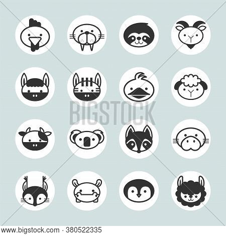 Vector Set Of Solid Animal Circle Icons On Gray Background Set 2.