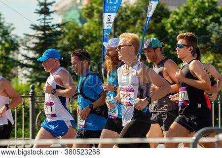 St. Petersburg, Russia - August 09,  2020: Half Marathon Northern Capital.   Men Run Marathon