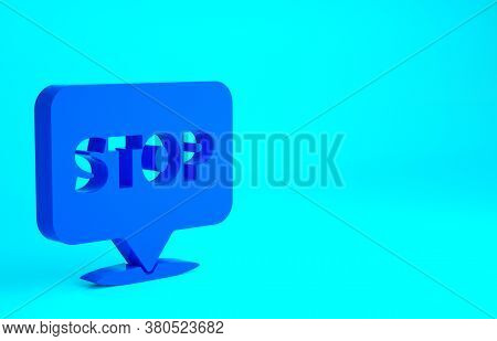 Blue Protest Icon Isolated On Blue Background. Meeting, Protester, Picket, Speech, Banner, Protest P
