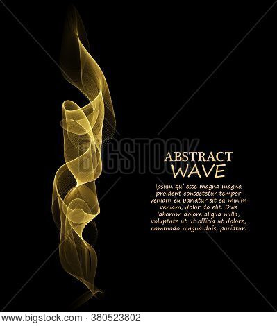 Golden Smooth Swoosh Abstract Wave Background Layout.