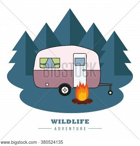 Camping Adventure Camper In The Forest With Campfire Vector Illustration Eps10