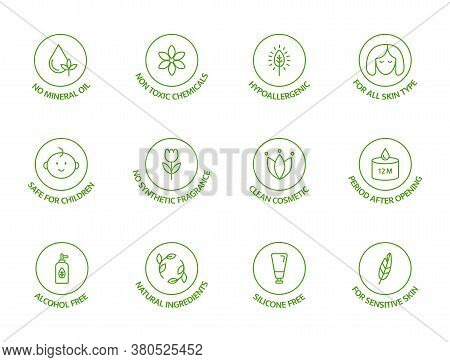 Organic Cosmetic Line Icons Set. Natural Ingredients Badges. Gmo Free Emblems. Hypoallergenic, Safe