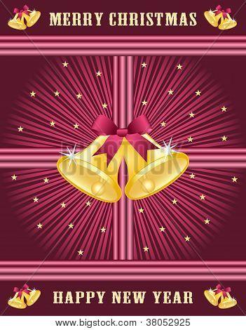 Gold Xmas Bells, Burgundy Bows