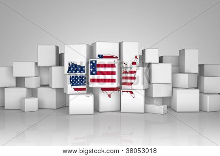 U.S.A maps with flag oncubes