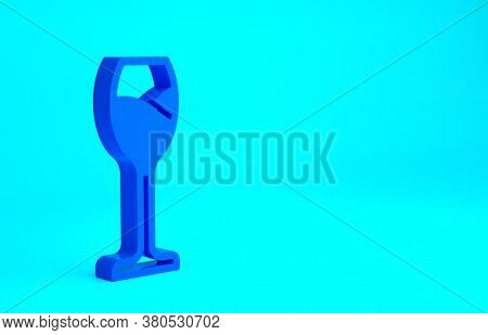 Blue Wine Glass Icon Isolated On Blue Background. Wineglass Icon. Goblet Symbol. Glassware Sign. Hap
