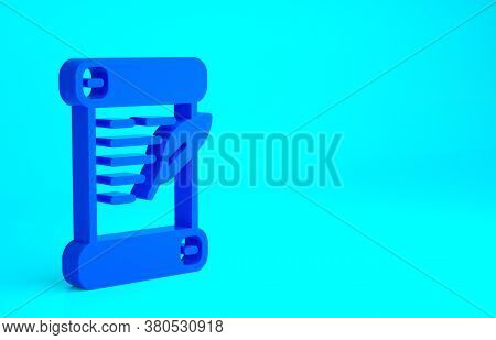 Blue Decree, Paper, Parchment, Scroll Icon Icon Isolated On Blue Background. Minimalism Concept. 3d