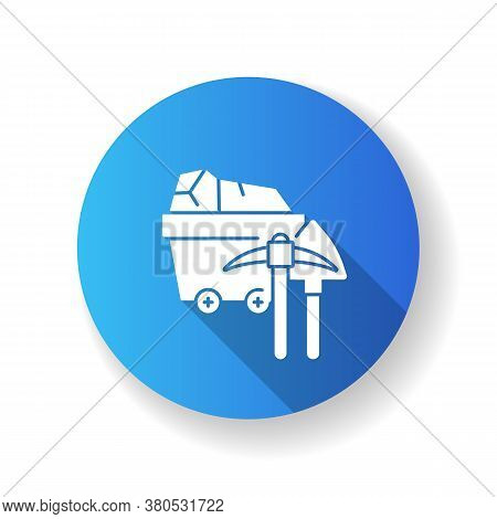 Coal Industry Blue Flat Design Long Shadow Glyph Icon. Natural Resources Exploitation, Fossil Fuel M