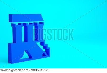Blue Parthenon From Athens, Acropolis, Greece Icon Isolated On Blue Background. Greek Ancient Nation