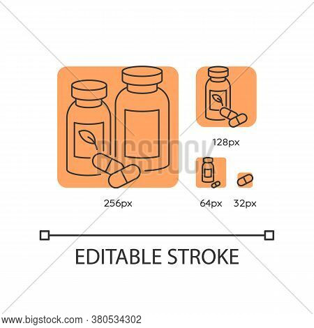 Pharmacy Orange Linear Icons Set. Pills In Containers. Herbal Drugs For Healthcare. Thin Line Custom