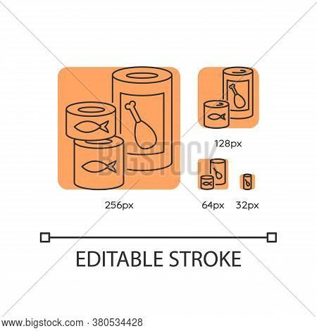 Canned Goods And Soups Orange Linear Icons Set. Preserved Meat In Tin. Fish Products. Thin Line Cust