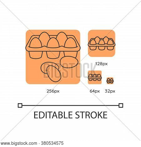 Eggs Orange Linear Icons Set. Chicken Products. Farming Fresh Food. Culinary Recipe Ingredient. Thin