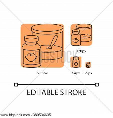 Baby Food Orange Linear Icons Set. Instant Formula For Infants. Healthcare For Newborn Kids. Thin Li