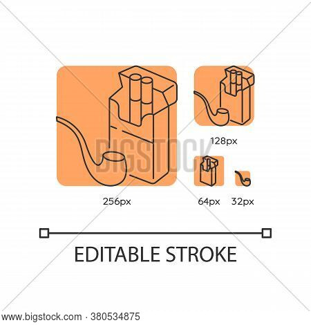Tobacco Orange Linear Icons Set. Cigarettes In Package. Pipe For Smoking. Nicotine Products. Thin Li